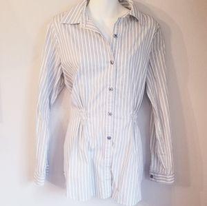 Cabi button down tunic w/ blue/lime/white stripes